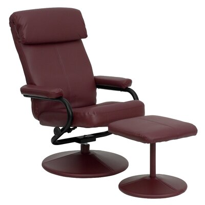 Faith Leather Recliner and Ottoman Upholstery: Burgundy