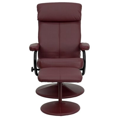Faith Manual Swivel Recliner with Ottoman Upholstery: Burgundy