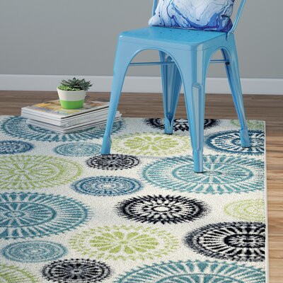 Lucia Ivory/Green/Blue Indoor/Outdoor Area Rug Rug Size: Runner 23 x 77