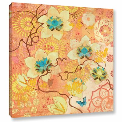 'Coral Clematis Butterfly' Graphic Art on Wrapped Canvas Size: 10