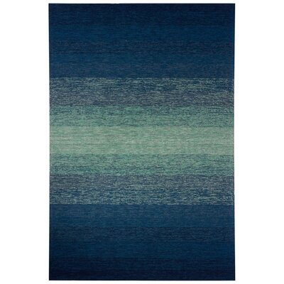 Calanthe Hand-Hooked Blue/Green Indoor/Outdoor Area Rug Rug Size: 76 x 96