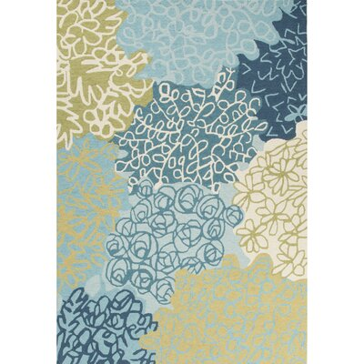 Capucina Hand-Tufted Blue/Green Area Rug Rug Size: Rectangle 5 x 76