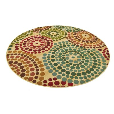 Ivy Beige Indoor/Outdoor Area Rug Rug Size: Round 8
