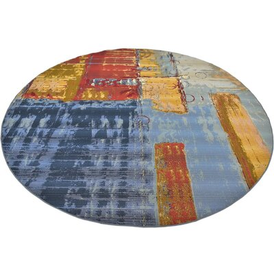 Camdyn Blue/Red Indoor/ Outdoor Area Rug Rug Size: Round 8