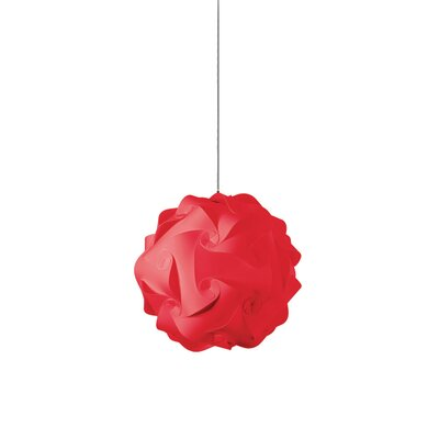 Heidi 1-Light Globe Pendant Shade Color: Red, Size: 9 H x 9 W x 9 D