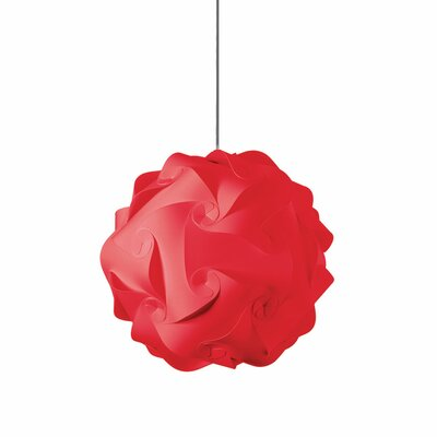 Heidi 1-Light Globe Pendant Shade Color: Red, Size: 16 H x 16 W x 16 D