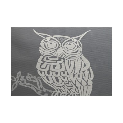 Deja Hootie Bird Print Gray Indoor/Outdoor Area Rug Rug Size: 3 x 5