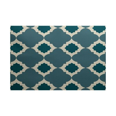Bevis Geometric Print Aqua Indoor/Outdoor Area Rug Rug Size: 3' x 5'
