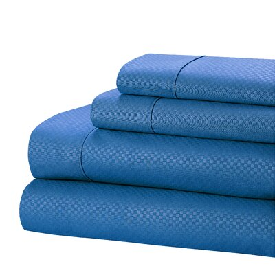 Aylin Checkered 4 Piece Sheet Set Size: King, Color: Blue