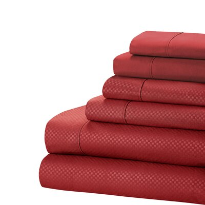 Aylin Checkered 4 Piece Sheet Set Size: King, Color: Burgundy