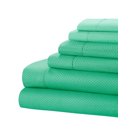 Aylin Checkered 4 Piece Sheet Set Size: King, Color: Teal