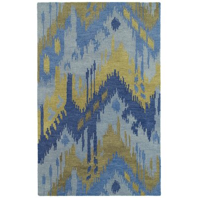 Dodge Hand-Tufted Blue/Camel Area Rug Rug Size: Rectangle 2' x 3'
