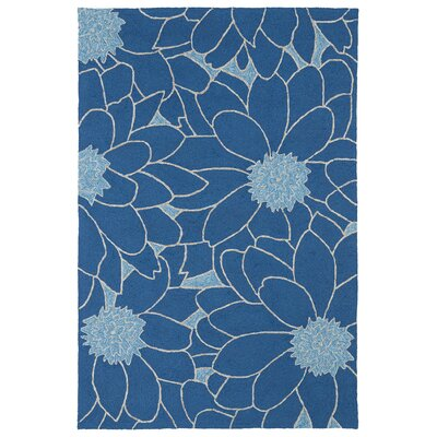 Alliston Blue Indoor/Outdoor Area Rug Rug Size: Round 59