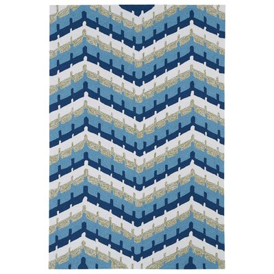 Alliston Blue Geometric Indoor/Outdoor Area Rug Rug Size: Round 59