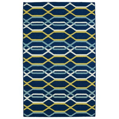 Dolton Blue Geometric Area Rug Rug Size: Rectangle 36 x 56
