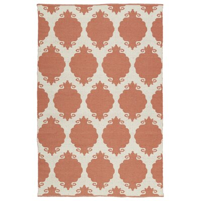 Dominic Salmon/Cream Indoor/Outdoor Area Rug Rug Size: 2 x 3