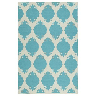 Dominic Turquoise/Cream Indoor/Outdoor Area Rug Rug Size: Rectangle 9 x 12
