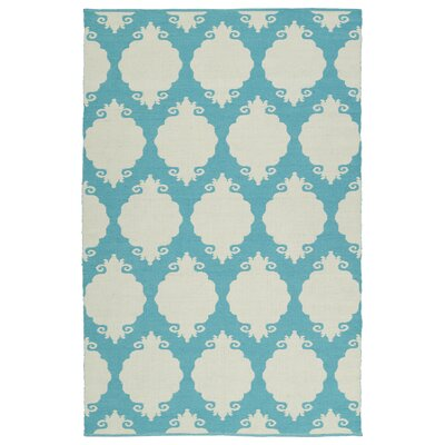Dominic Cream/Turquoise Indoor/Outdoor Area Rug Rug Size: Runner 2 x 6