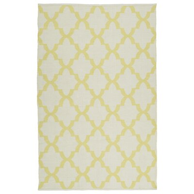 Dominic Yellow/White Indoor/Outdoor Area Rug Rug Size: Runner 2 x 6