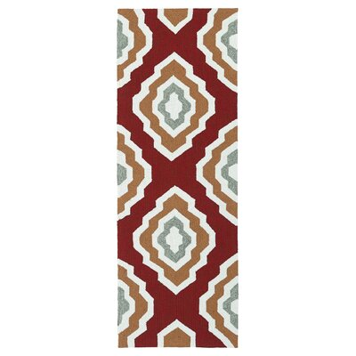 Alpine Bay Hand-Tufted Red Indoor/Outdoor Area Rug Rug Size: Runner 2 x 6