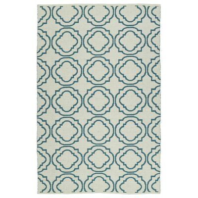 Aarti Cream & Teal Indoor/Outdoor Area Rug Rug Size: 5 x 76