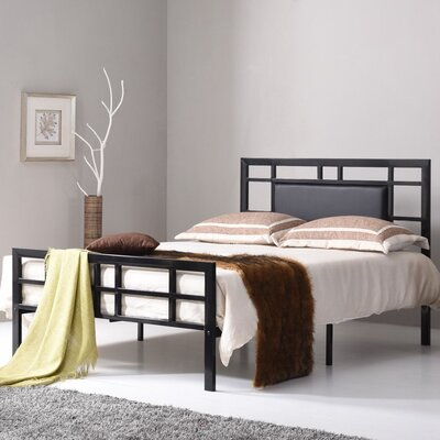 Bruce Upholstered Platform Bed Upholstery: Black, Size: Twin