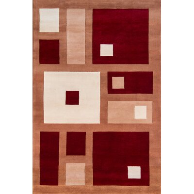 Abate Hand-Tufted Red Area Rug Rug Size: 2 x 3