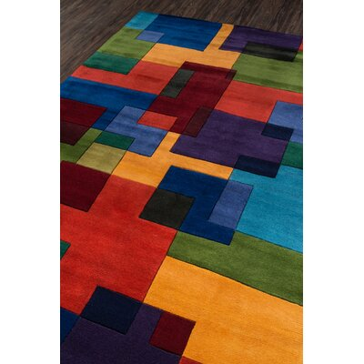 Abate Hand-Tufted Red/Orange Area Rug Rug Size: 76 x 96