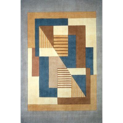 Abate Hand-Tufted Blue/Brown Area Rug Rug Size: 36 x 56