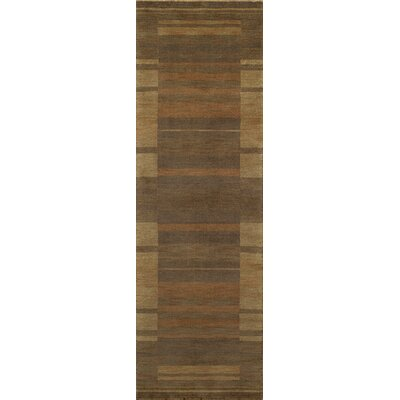 Donaghy Hand-Woven Brown/Yellow Area Rug Rug Size: Rectangle 36 x 56