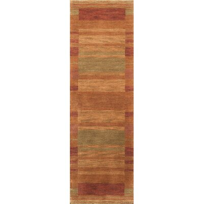 Amundson Hand-Woven Rust/Light Green Area Rug Rug Size: 36 x 56