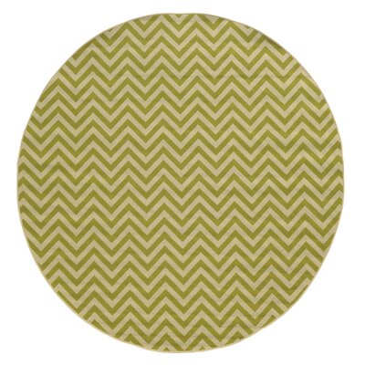 Heath Green/Ivory Chevron Indoor/Outdoor Area Rug Rug Size: Round 710