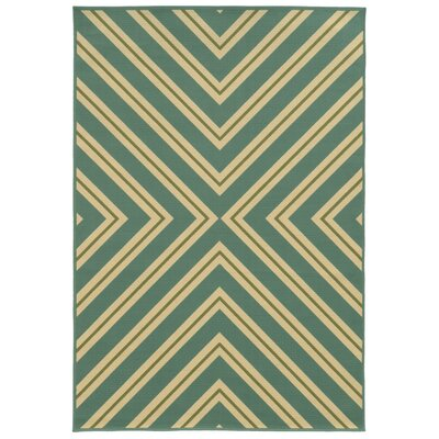 Heath Blue/Ivory Geometric Outdoor Area Rug Rug Size: Rectangle 67 x 96