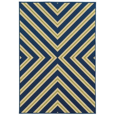 Heath Blue/Ivory Zig Zag Indoor/Outdoor Area Rug Rug Size: 25 x 45