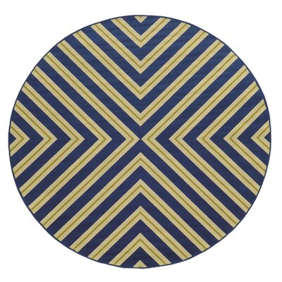 Heath Blue/Ivory Zig Zag Indoor/Outdoor Area Rug Rug Size: Round 710