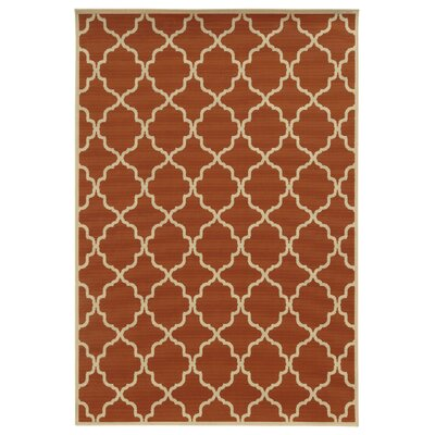 Heidy Geometric Orange/Ivory Indoor/Outdoor Area Rug Rug Size: Rectangle 53 x 76