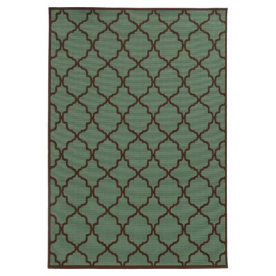 Heath Green/Brown Indoor/Outdoor Area Rug Rug Size: 37 x 56
