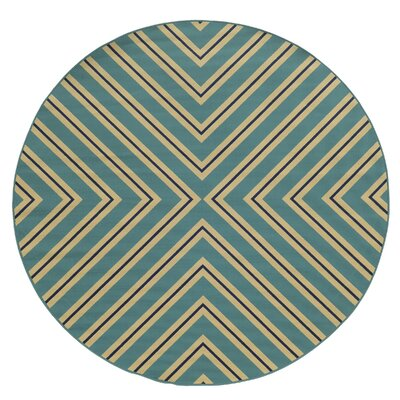 Heath Blue/Ivory Indoor/Outdoor Area Rug Rug Size: Round 710