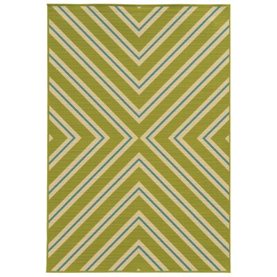 Heath Green/Ivory Indoor/Outdoor Area Rug Rug Size: 37 x 56