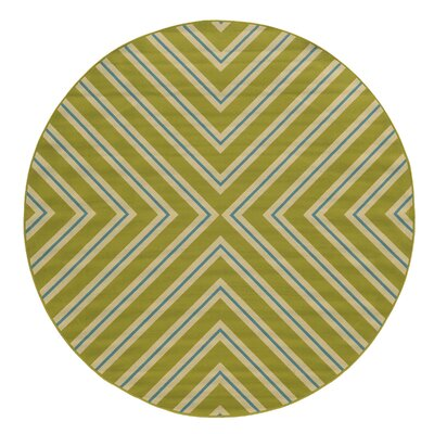 Heath Green/Ivory Indoor/Outdoor Area Rug Rug Size: Round 710