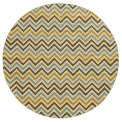 Heath Gray/Gold Indoor/Outdoor Area Rug Rug Size: Round 710