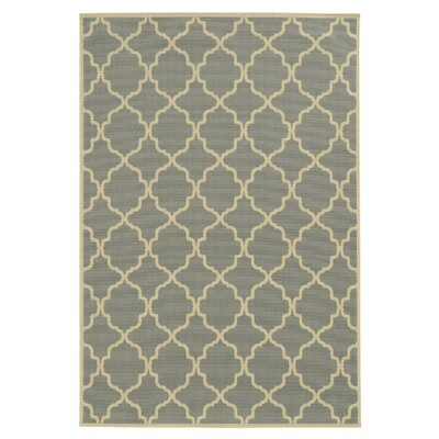 Viviana Geometric Gray/Ivory Indoor/Outdoor Area Rug Rug Size: 53 x 76