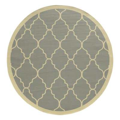Heidy Geometric Gray/Ivory Indoor/Outdoor Area Rug Rug Size: Round 710
