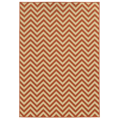 Heath Beige/Orange Indoor/Outdoor Area Rug Rug Size: 37 x 56