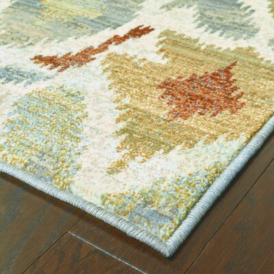 Isham Tribal Ivory/Gray Area Rug Rug Size: Rectangle 53 x 76