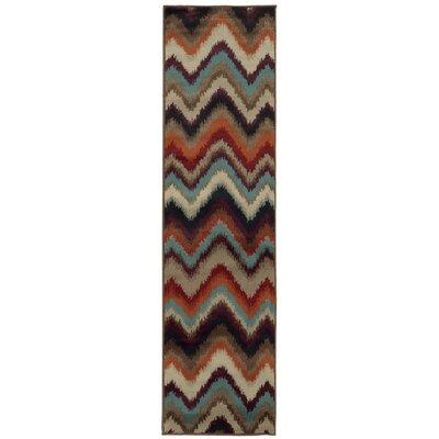 Nielsen Black/Stone Area Rug Rug Size: Runner 110 x 76