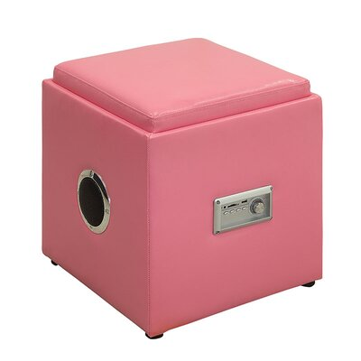 Waller Leather Speaker Ottoman Upholstery: Pink