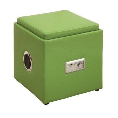 Waller Leather Speaker Ottoman Upholstery: Green