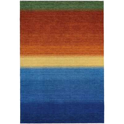 Itzel Ocean Sunset Hand-Woven Blue/Burnt Orange Area Rug Rug Size: 36 x 56