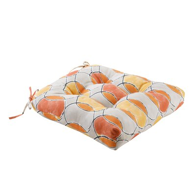 Dahlia Printed Circles 3M Scotchgard Outdoor Dining Chair Cushion Fabric: Orange/Pink